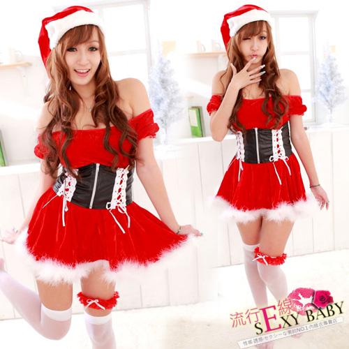 聖誕服一字領公主袖聖誕服~聖誕節xmas氣質聖誕裝~F006...