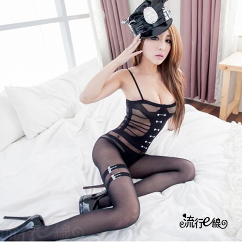 開檔貓裝網衣~連身貓裝造型龐克風性感貓裝~黑色半透連身貓裝~...
