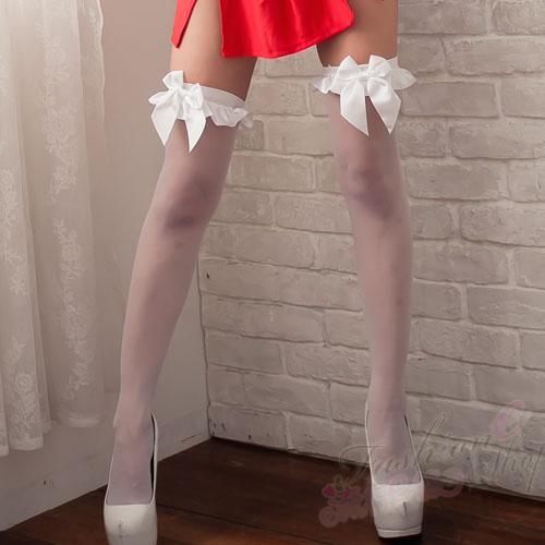日系夢幻性感絲襪~白色蝴蝶結性感絲襪美腿必備單品~B198...