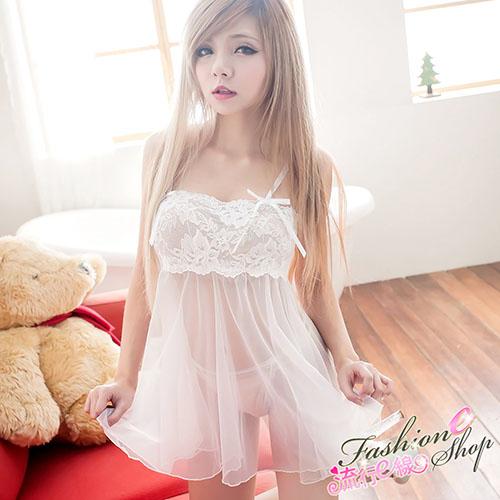 鄰家女孩性感睡衣,白色蕾絲薄紗女睡衣含性感丁字褲A687...