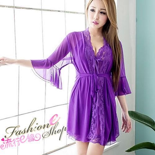 3件式睡袍組 性感薄紗睡袍和服式女睡衣睡袍*流行E線A7034...