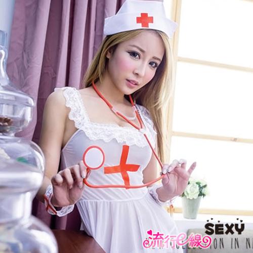 薄紗護士服角色扮演服裝 白色性感護士服cosplay服裝~流行E線A7048...