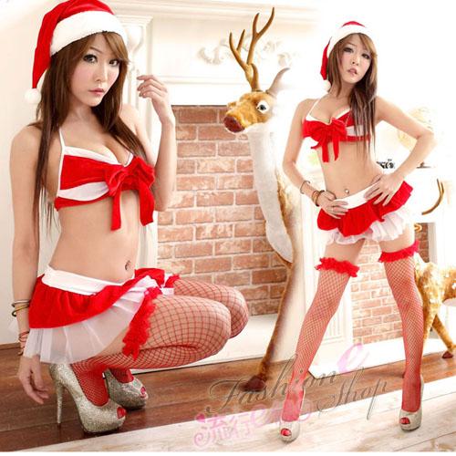聖誕禮物紅色比基2件式聖誕服 迷你裙角色扮演聖誕裝-流行E線F025...