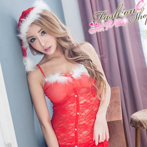 聖誕禮物紅色蕾絲聖誕服 半透紅色聖誕裝-流行E線F063...