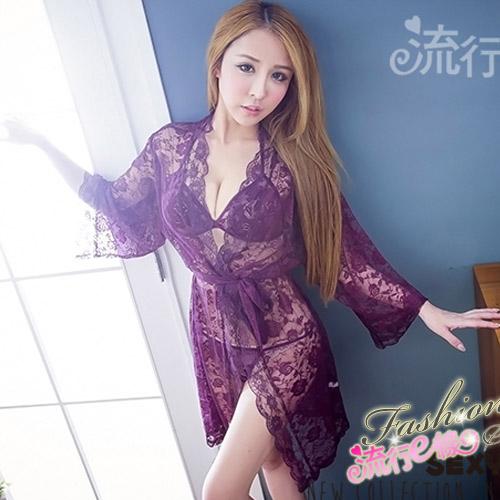 性感睡袍 3件式蕾絲連身性感睡衣~情人節禮物*流行E線A7065...