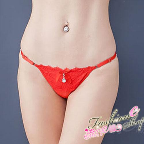 紅色丁字褲 蕾絲寬版丁字褲~流行E線B6051...