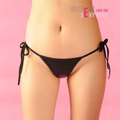 戀愛低腰內褲~黑色素面側綁帶性感三角褲~情趣內褲*流行E線 B573...