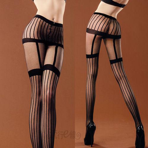 MIT輕薄開檔絲襪褲襪~美腿假吊帶襪~黑色白色造型美腿條紋褲襪~...