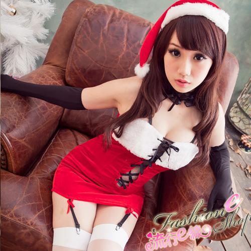 聖誕裝綁帶深V聖誕服聖誕帽~F039