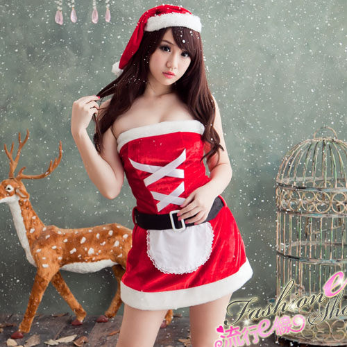 甜心露肩洋裝聖誕服含小紅帽*F020...