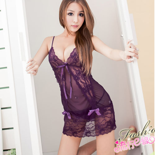 熱戀性感睡衣,黑色紫色連身睡衣含性感丁字褲~A492...