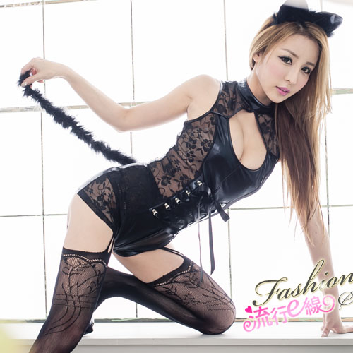 半透蕾絲貓女角色扮演服~連身式半透cosplay夜店表演服~流行E線A7025