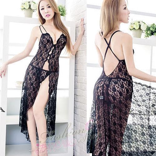 薄紗睡衣~露背蕾絲透膚性感睡衣~流行E線A7028