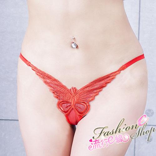 丁字褲 紅色蝴蝶性感丁字褲~流行E線B6024