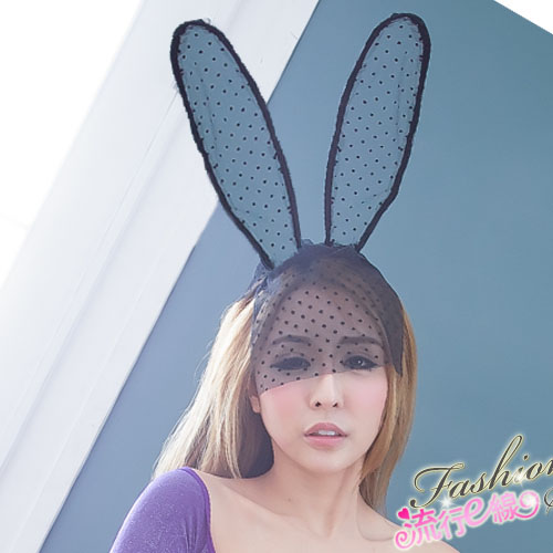 可愛兔耳面紗髮箍 角色扮演服裝配件~流行E線K058...