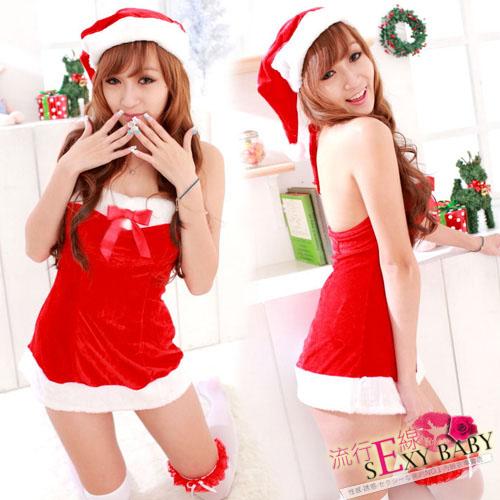 修身小禮服聖誕節跨年窄裙式cosplay服裝送聖誕帽 F009...