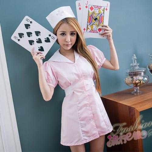護士服 短袖洋裝護士服cosplay服裝粉藍護士服~流行E線A7078