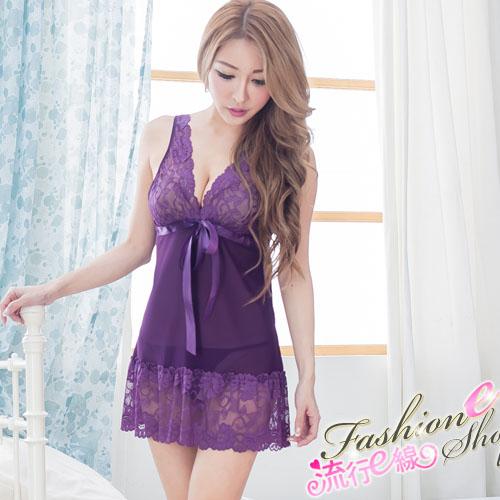 蕾絲連身睡衣 深V輕柔性感睡衣 黑色/紫色連身睡衣A7064...