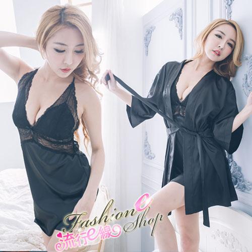睡衣 3件式仿真絲性感睡衣睡袍丁字褲組A7090...