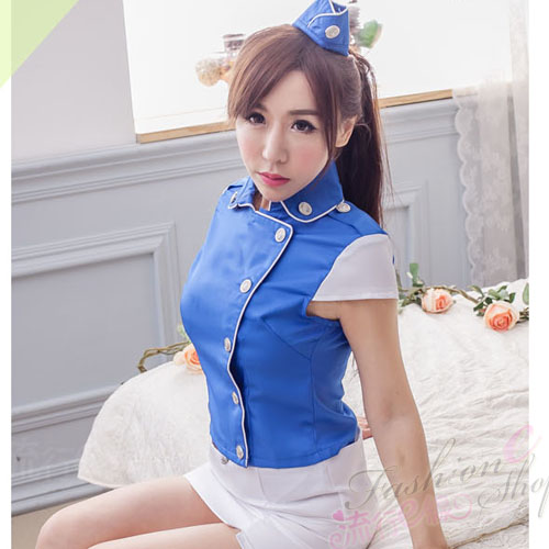 藍白甜美空姐制服cosplay服裝派對空姐服~A7128