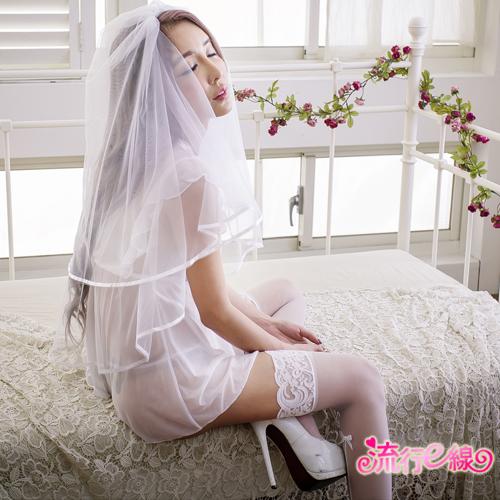 甜心女睡衣 荷葉深V薄紗睡衣甜美性感睡衣~A7153