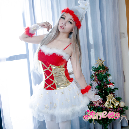 聖誕小精靈細肩帶聖誕裝 F070...