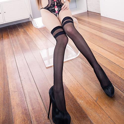 台灣製黑色透膚絲襪 不易下滑絲襪大腿襪~B8082...