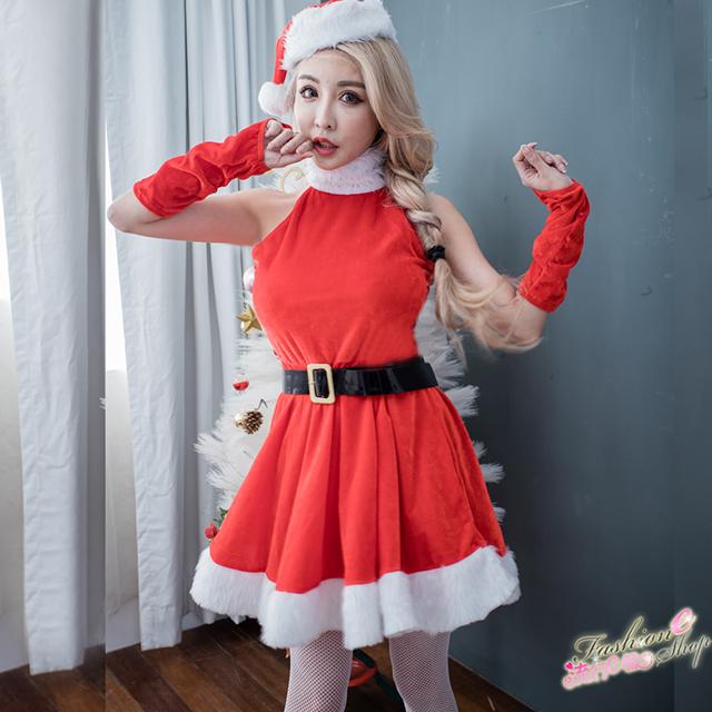 削肩洋裝聖誕服cosplay服裝跨年派對角色扮演服~F073...
