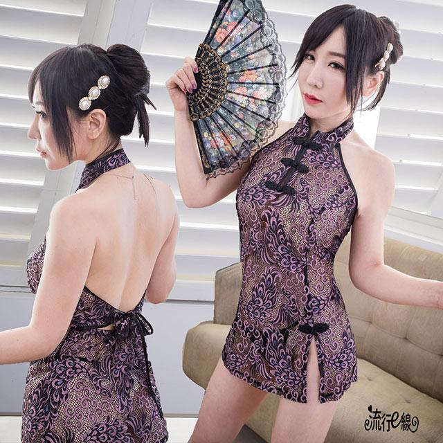 復古改良式旗袍 性感紫黑色旗袍 A7220...