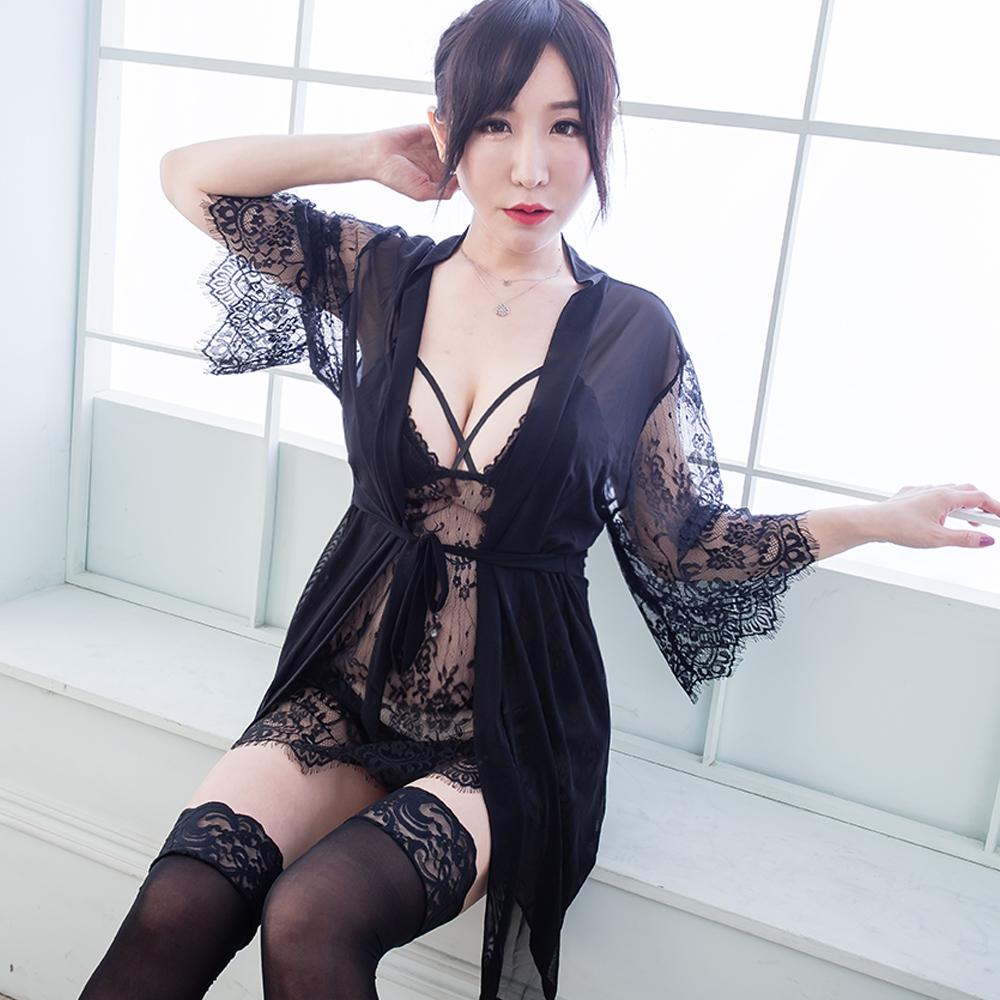 3件式睡袍組 精緻蕾絲 帶胸墊性感睡衣組 A7213...