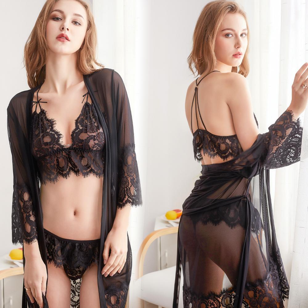 3件式睡袍組 M-XL性感薄紗睡袍 和服式女性感睡衣 A7245...