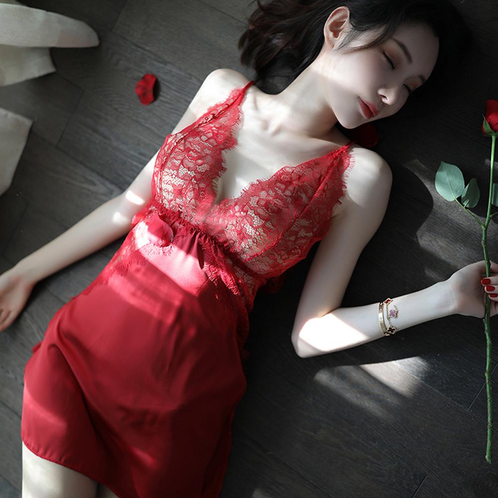 情趣睡衣 蕾絲緞面性感睡衣小性感美背性感睡衣 A7250...