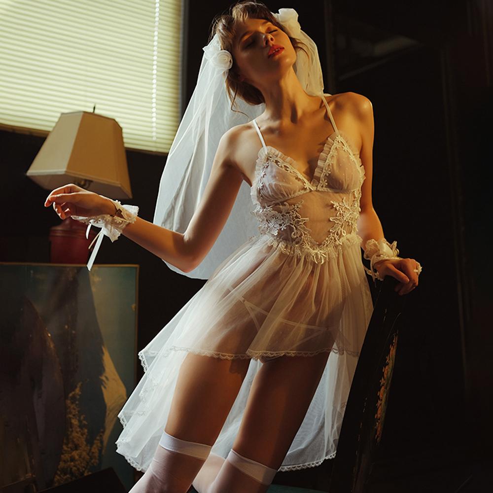 情趣內衣 夏日新娘性感睡衣5件組 含頭紗手套丁字褲絲襪~A7239...