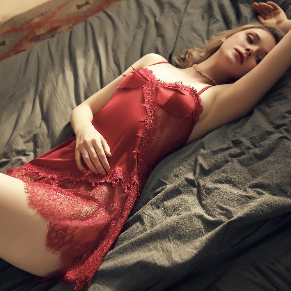 性感睡衣 S曲線蕾絲質感仿真絲女生居家情趣睡衣~A7272...