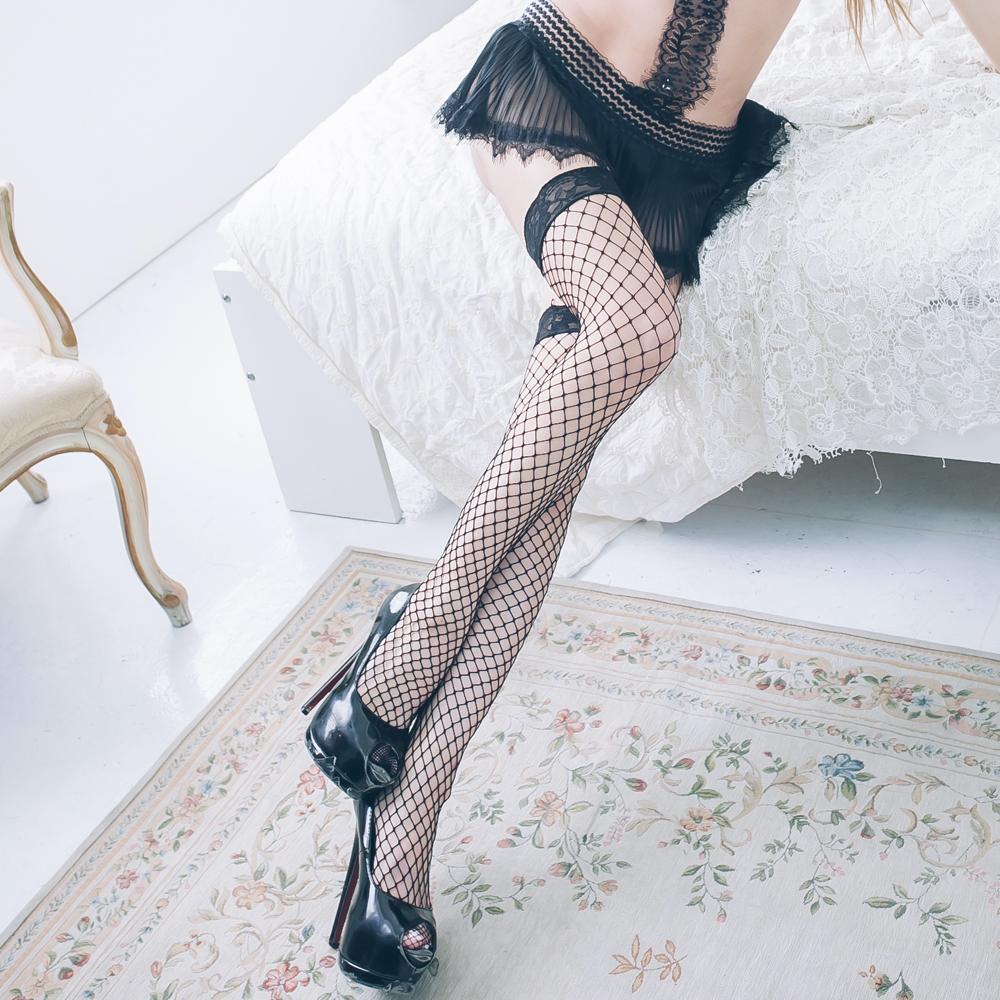 性感網襪 女生透膚黑色大腿襪絲襪~B8131...