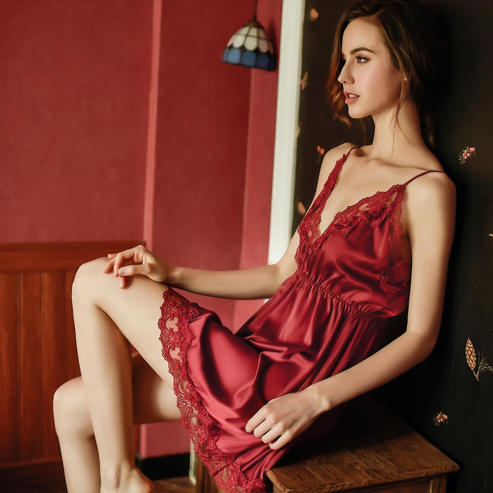 M-4XL性感睡衣 大尺碼柔緞居家睡衣~A7285...