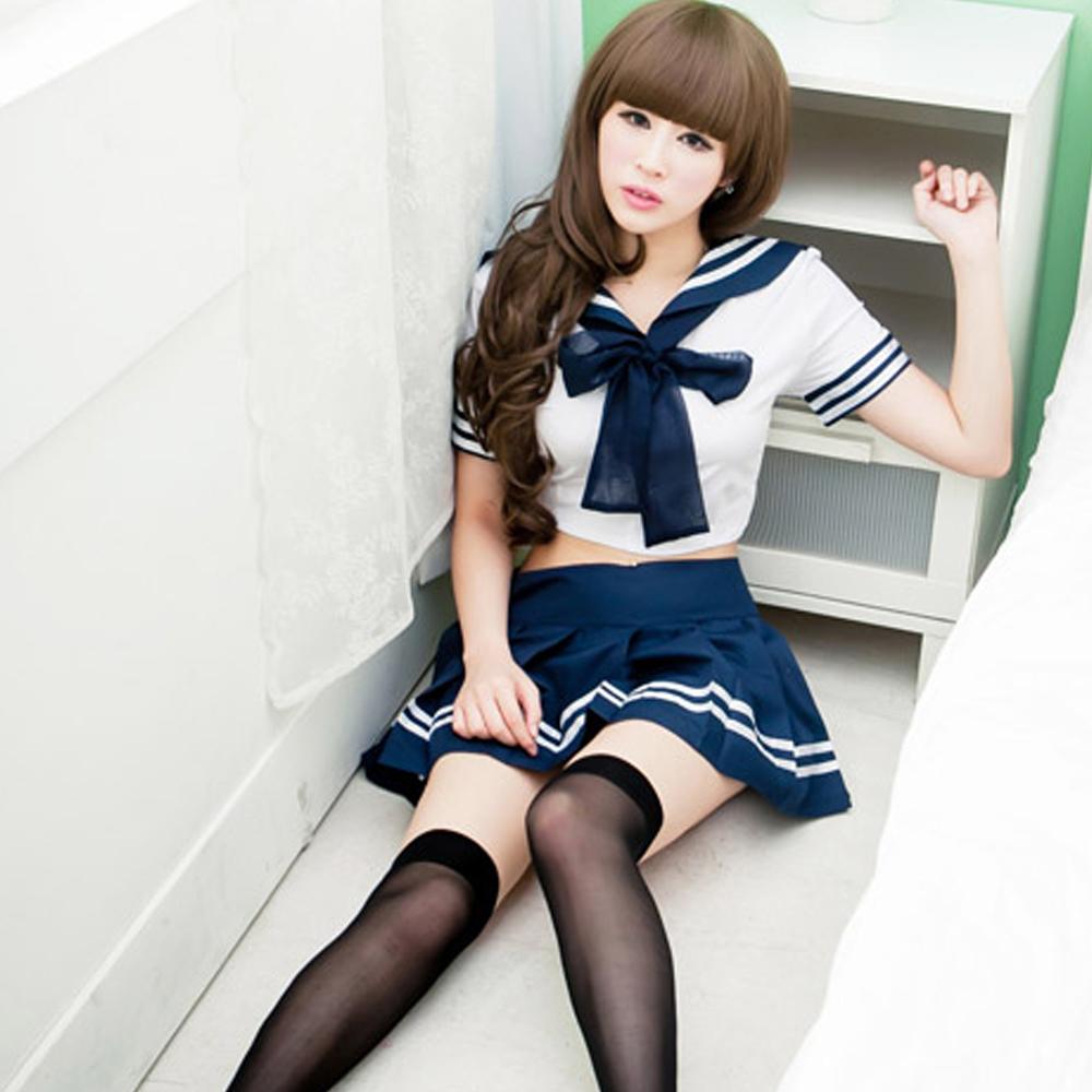 日系藍白水手服 小可愛迷你裙學生服~A630...
