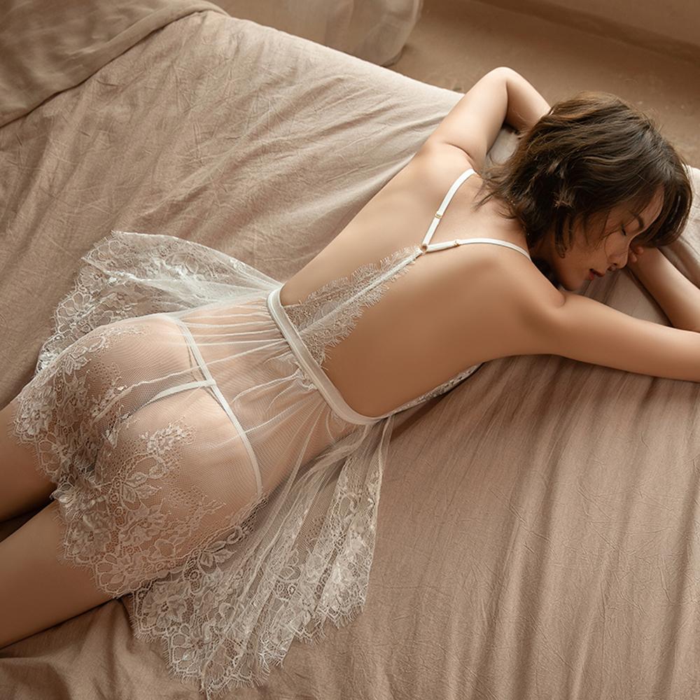 F/XL前釦蕾絲性感睡衣 透明情趣睡衣 A7319...
