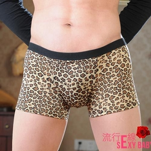 男內褲~豹紋四角低腰內褲~B563...